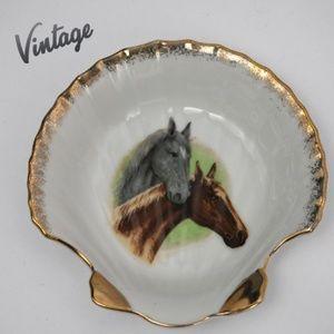 Vintage Horses Seashell Trinket Dish